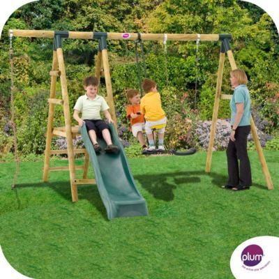 Plum Meerkat Wooden Garden Swing Set With Swing 2 Seat Glider