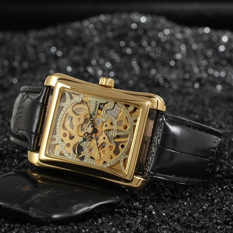 2016 Winner Wholesale Mens Designer Rectangle Skeleton Gold Color Watches Online For Sale-Forsining Watch Company Limited www.forsining.com