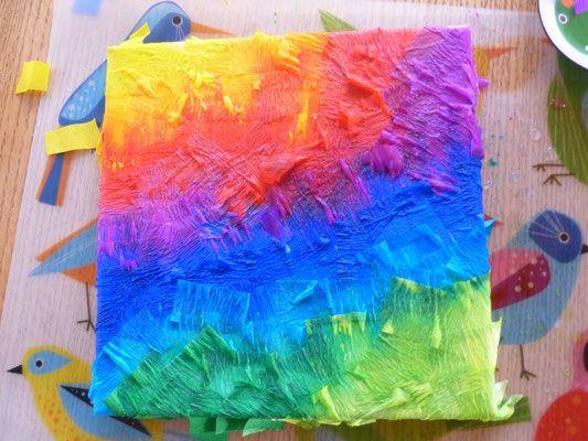 Mit kreppapier basteln uhugo kreativitaet kennt keine grenzen basteln dekoration - Leinwand bemalen mit kindern ...