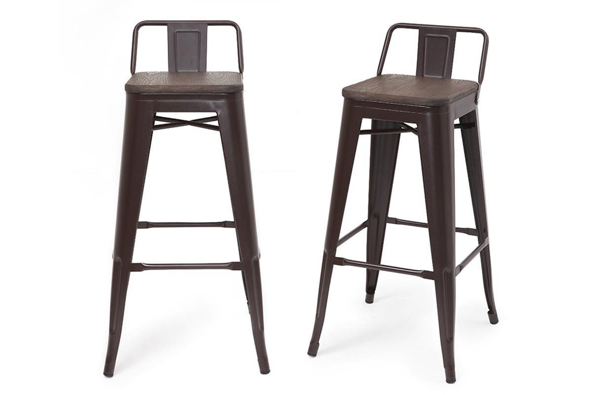 Tabourets Miliboo Tabouret De Bar Industriel Effet Rouille Lot De 2 Usino