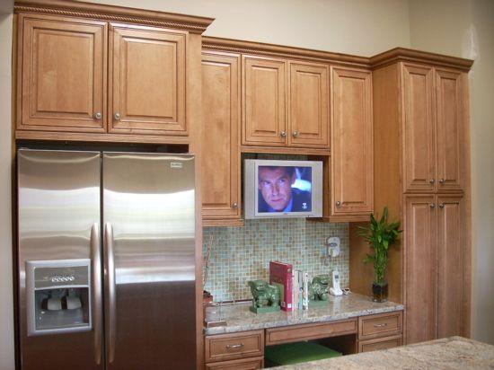 kitchen kraft cabinets. Desk area in kitchen  Kraftmaid Kraft Maid maple cabinets ginger finish Built refrigerator