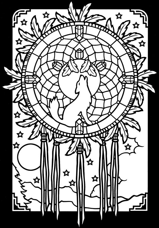 Dream catcher coloring page. Coyote. Native American. Dover ...