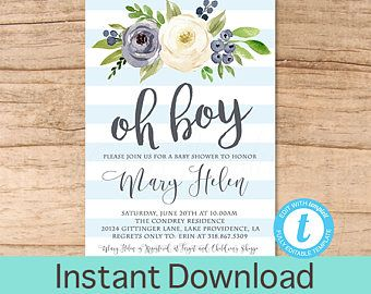 Oh Boy Baby Shower Invitation Blue Boho Floral Watercolor Baby Boy