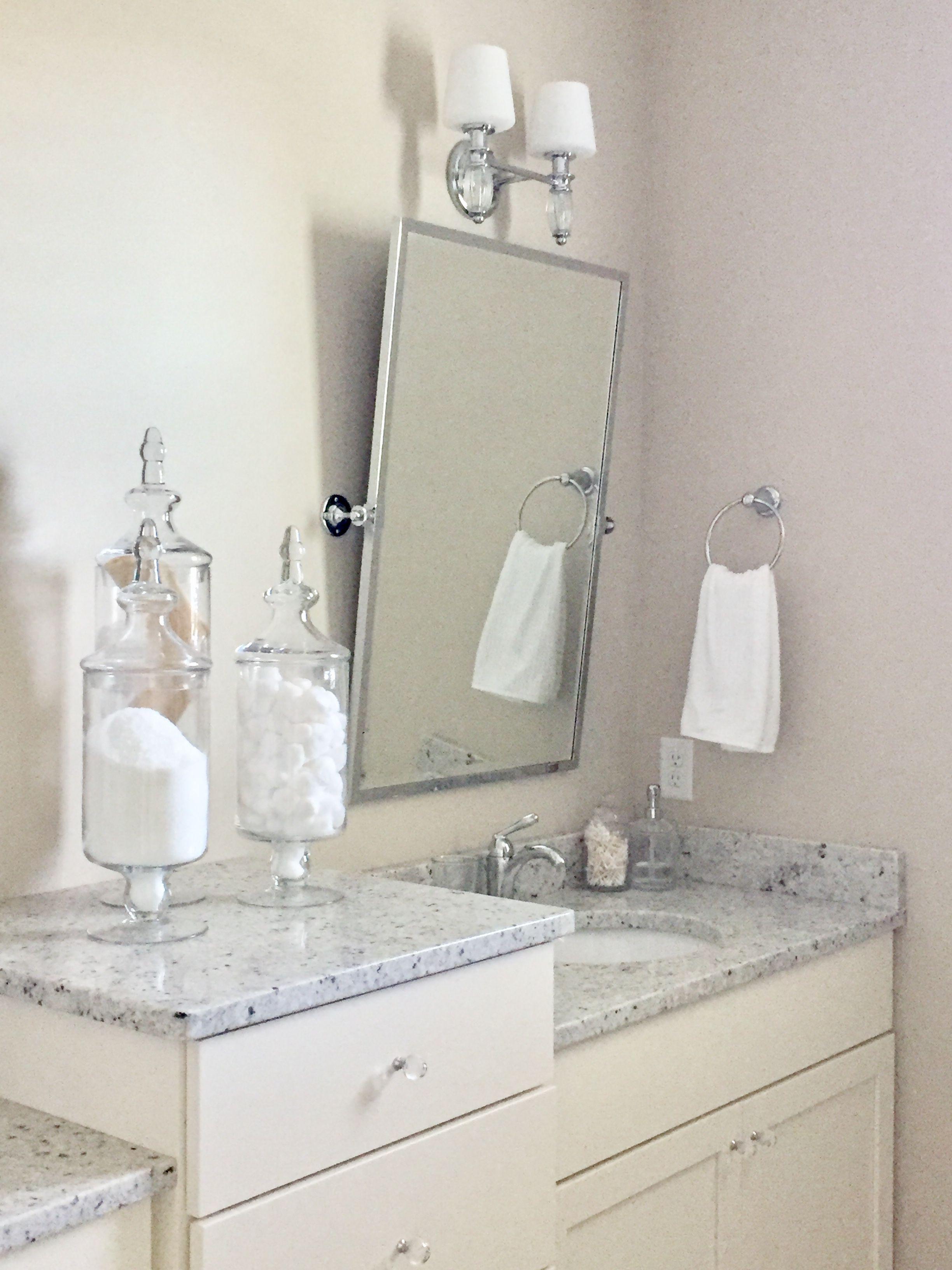 master bath pottery barn kensington mirror chrome colonial white rh pinterest com