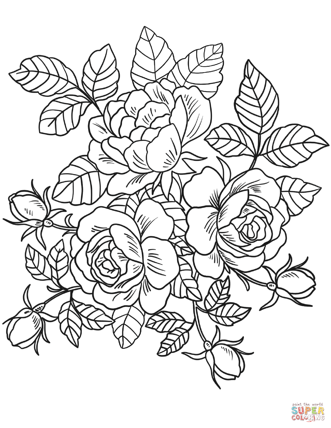 Effortless image with roses coloring pages printable