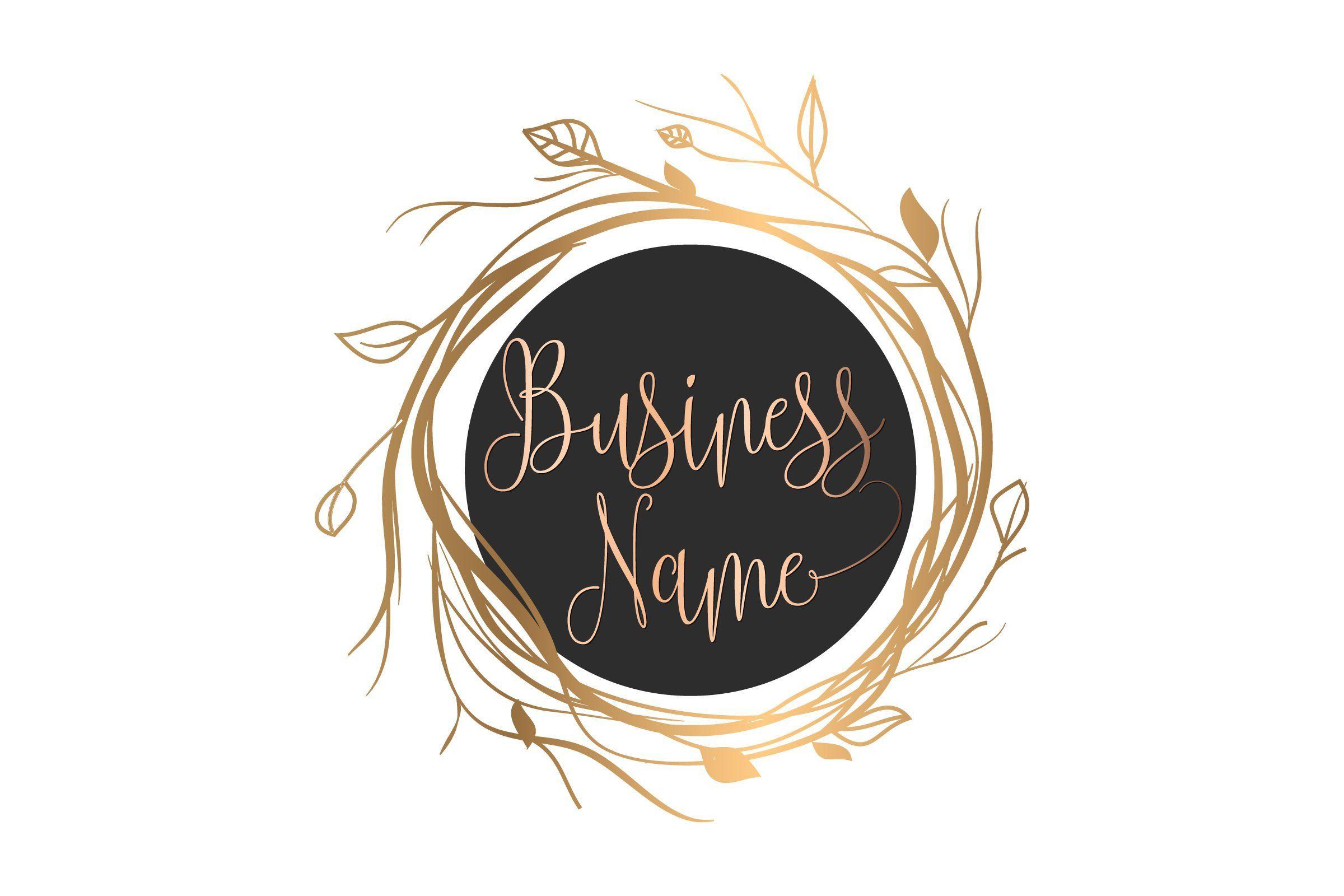 Photography logo, Custom logo design, gold wreath logo