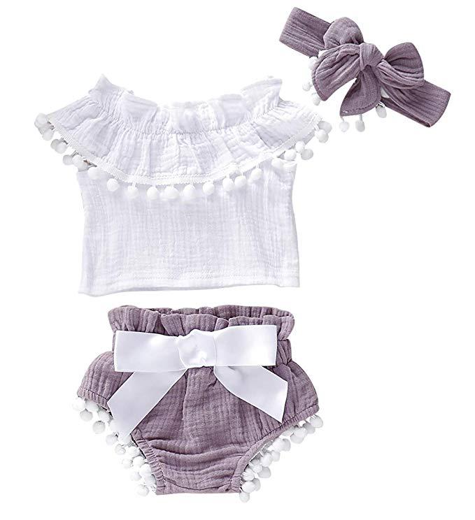 Newborn Baby Girl Ruffle Tops Shirt Tutu Pants Shorts Floral Clothes Outfits Set