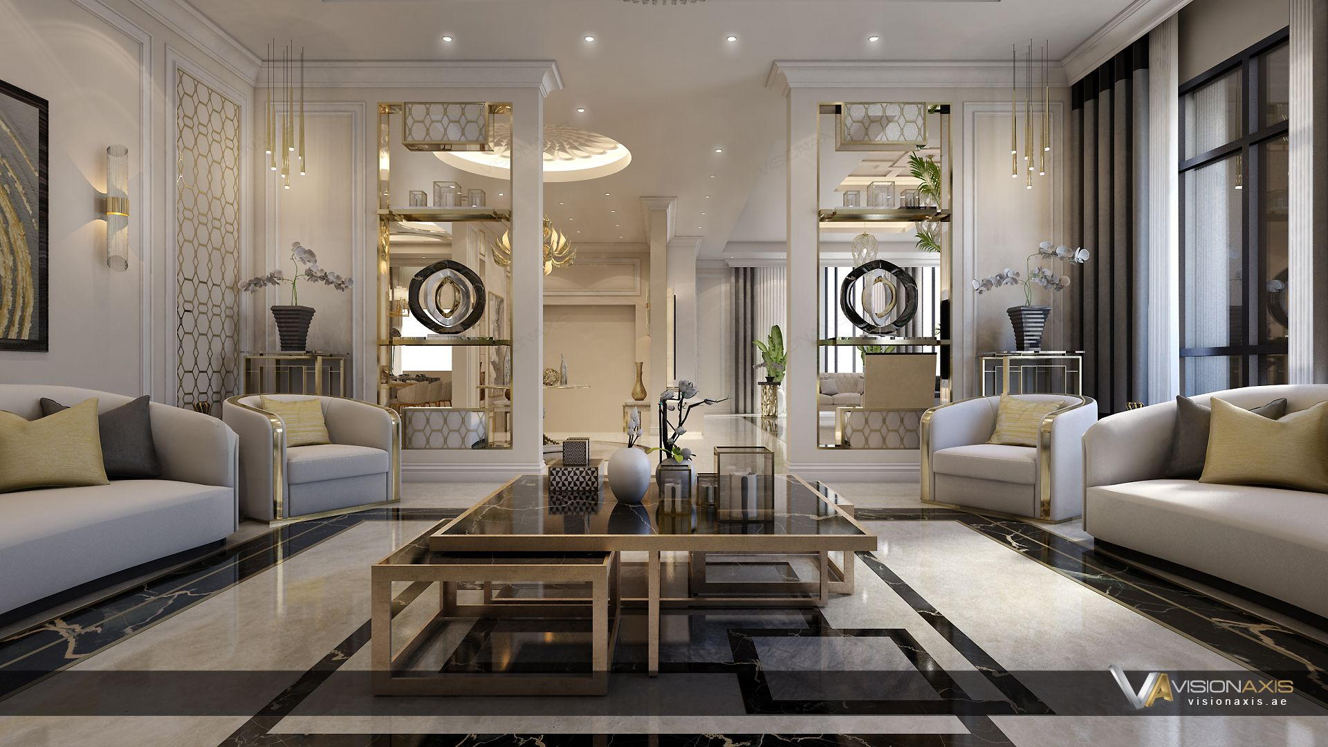 Neo Classic Design For Living Area By Visionaxis Interior Design Luxury Homes Dream Houses Design