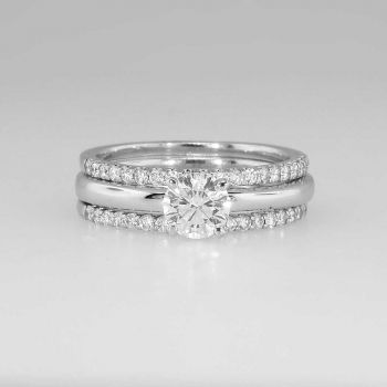 spectacular estate diamond solitaire engagement ring and wedding bands set - Solitaire Wedding Ring Sets