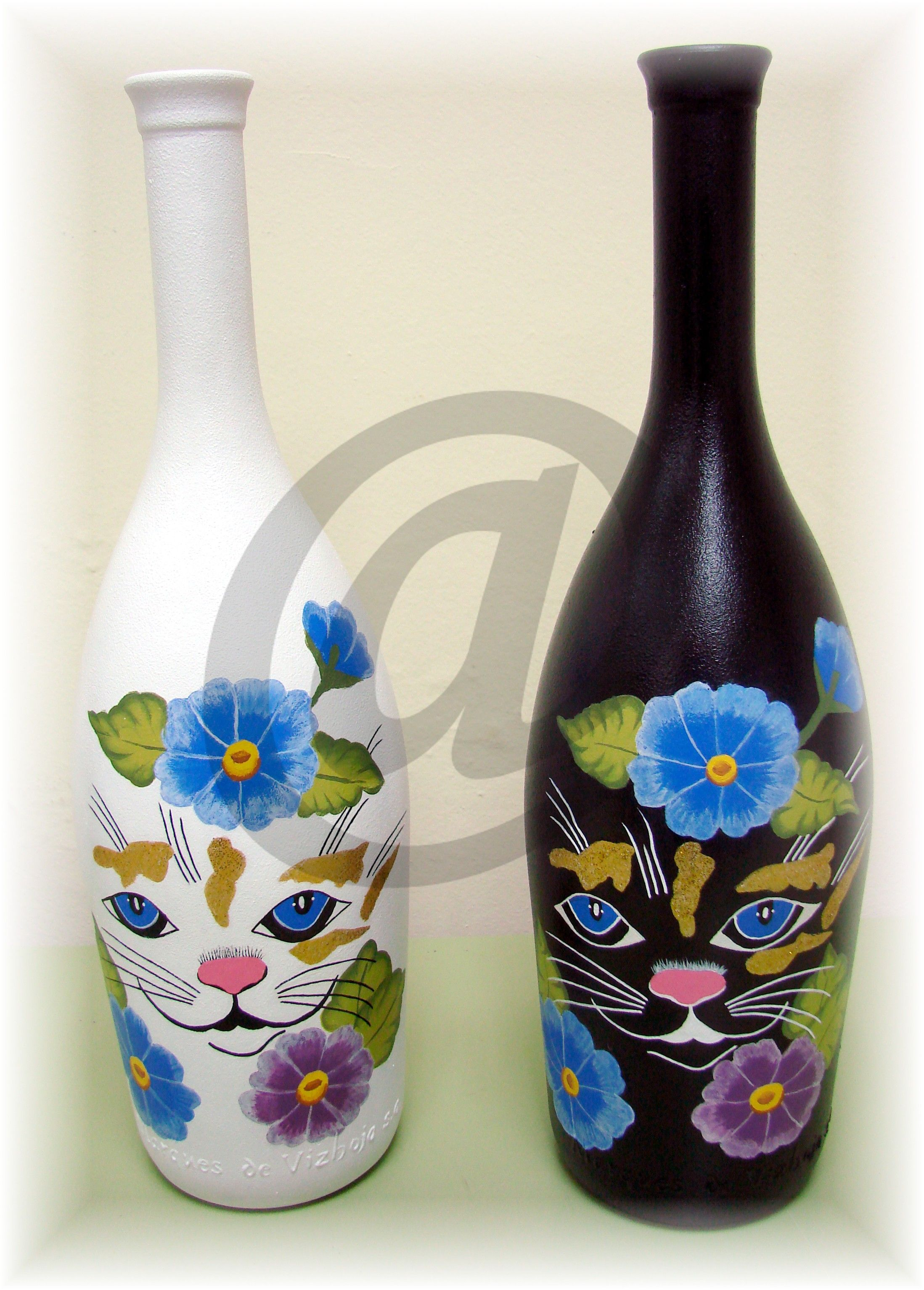 Botellas de cristal pintada a mano botellas de cristal decoradas y pintadas pinterest - Botellas de cristal decoradas ...