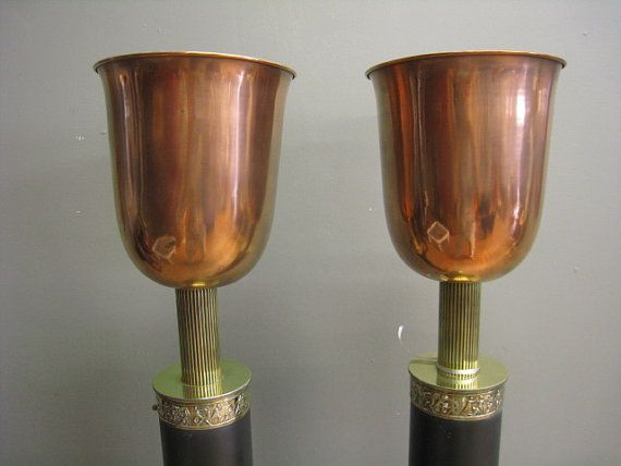 Vintage Pair ART DECO TORCHERES brass copper by PREVIEWMOD on Etsy