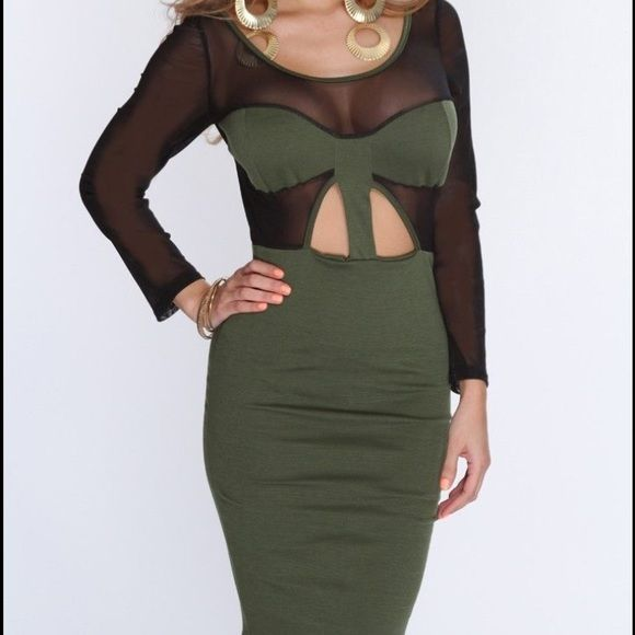 New S mesh inset Bodycon dress New in package condition. Size small. Mesh inset. Cutout detail. Knit stretch Bodycon fit. Knee length Dresses Long Sleeve
