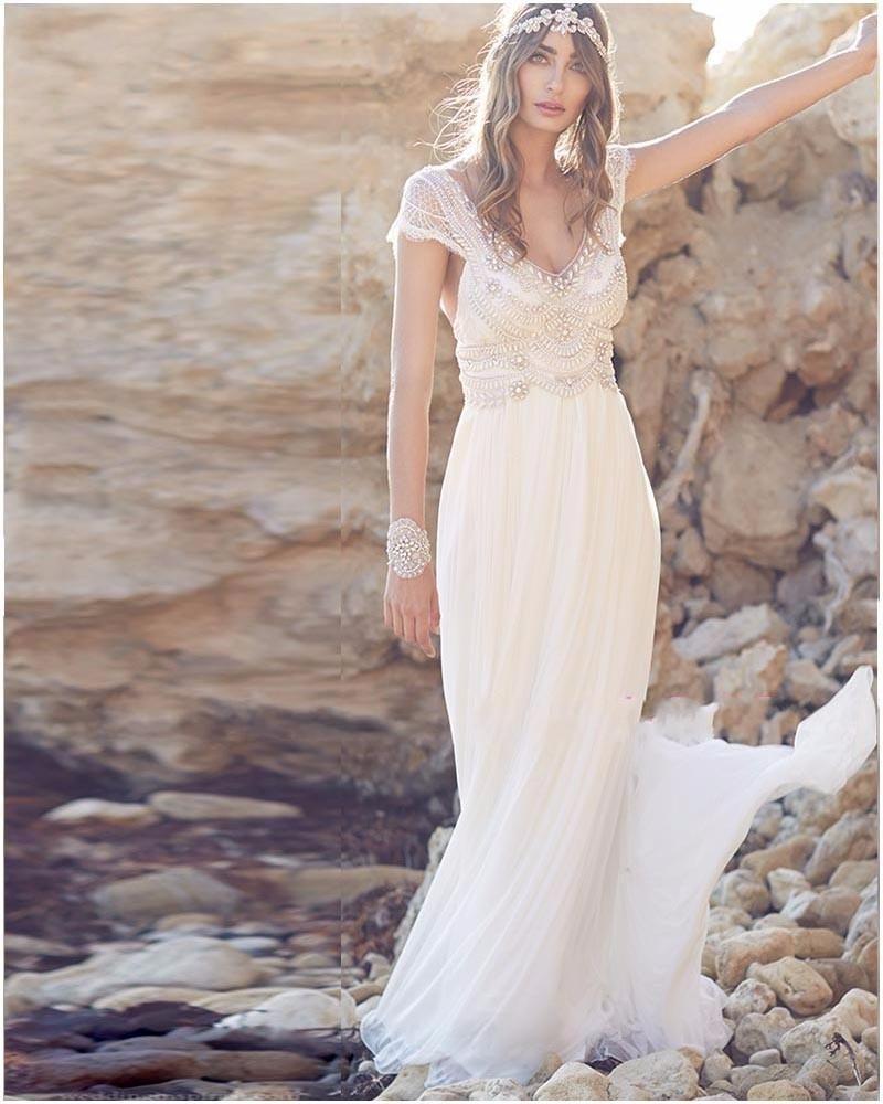 India Bohemian Boho Beach Wedding Dresses Crystals Beading