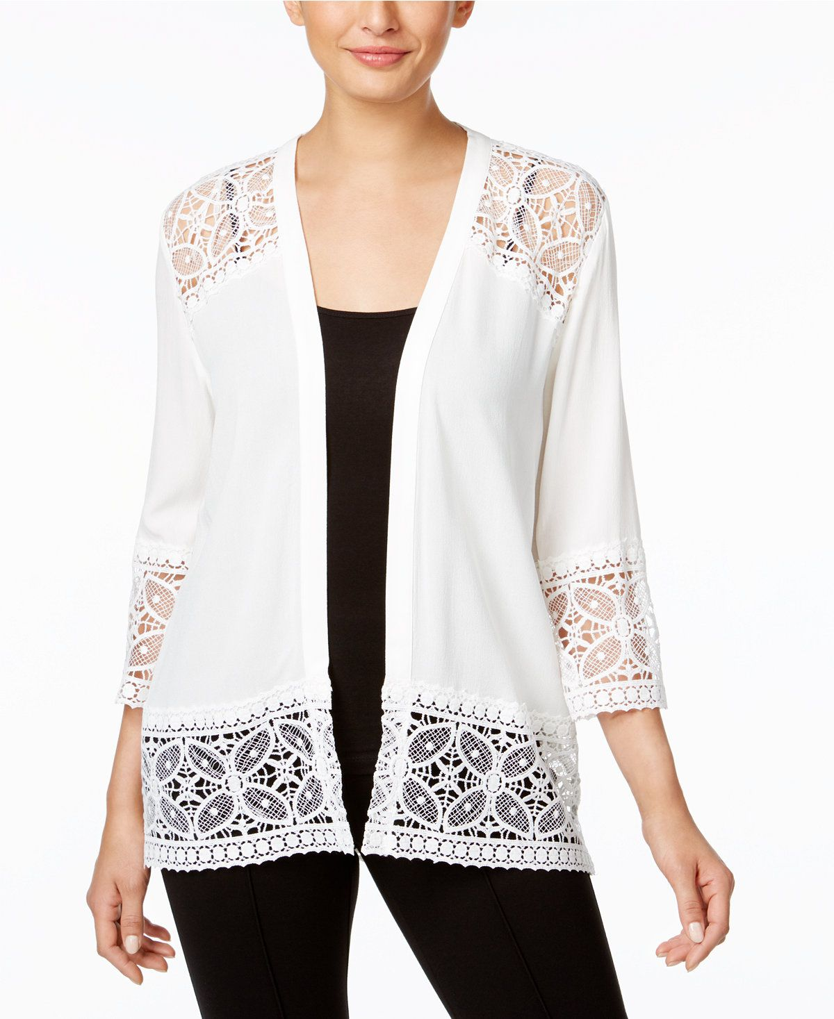 NY Collection Lace-Trim Cardigan - Sweaters - Women - Macy's ...