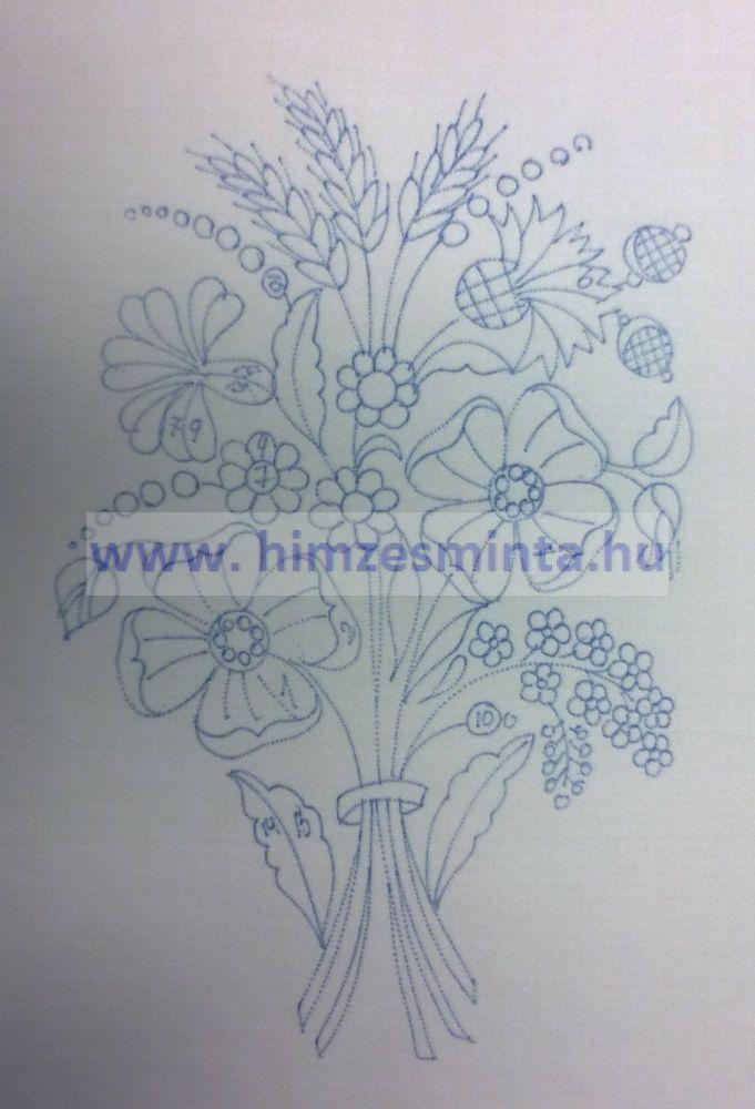 12e97358bb Virágcsokor 2 - Kalocsai, matyó, angolmadeirás, richelieu (riseliő)  keresztszemes előnyomott hímzés minták. Terítők, abroszok, falvédők  előnyomása