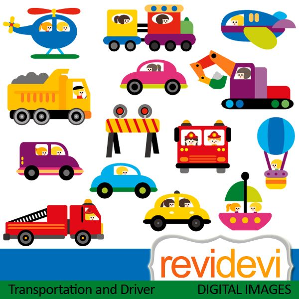 Transportation with drivers cliparts. Cars, construction vehicle ...