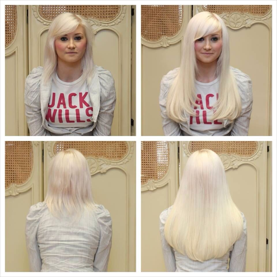 Wow Super White Blonde Hair Extensions Full Head Of 16 Inch