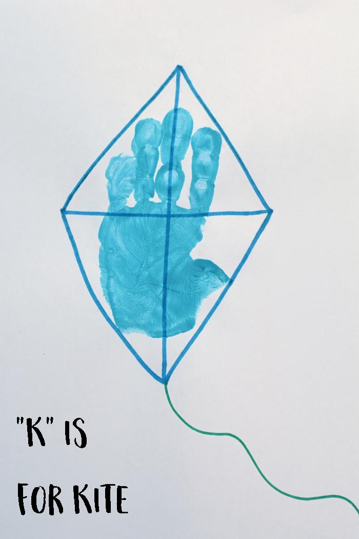 """Letter """"K"""" Kite Handprint Art for Preschoolers Alphabet"""