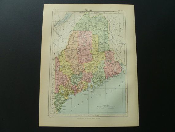 130 years old map of Maine USA 1883 antique by DecorativePrints, €11.95