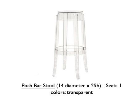 Posh Bar Stool - Clear  - Decor - Hand Crafted - Special Events - Lounge Appeal