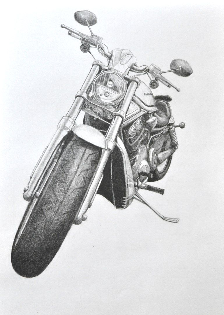 Harley davidson v rod my art pencil motorcycle drawing artist
