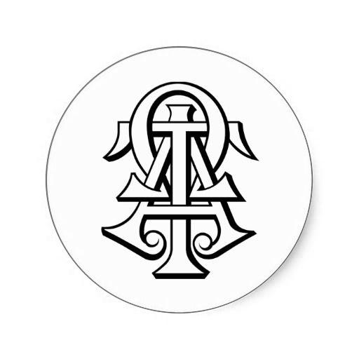 Alpha Tau Omega Interlocked Letters Classic Round Sticker Alpha
