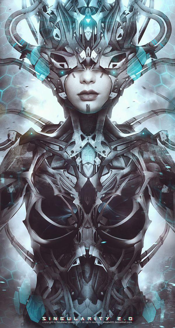 -16x13   Gothic Horror or Sci-Fi Art Made to Order H R Giger--Silver Framed Li Print Woman wSkulls