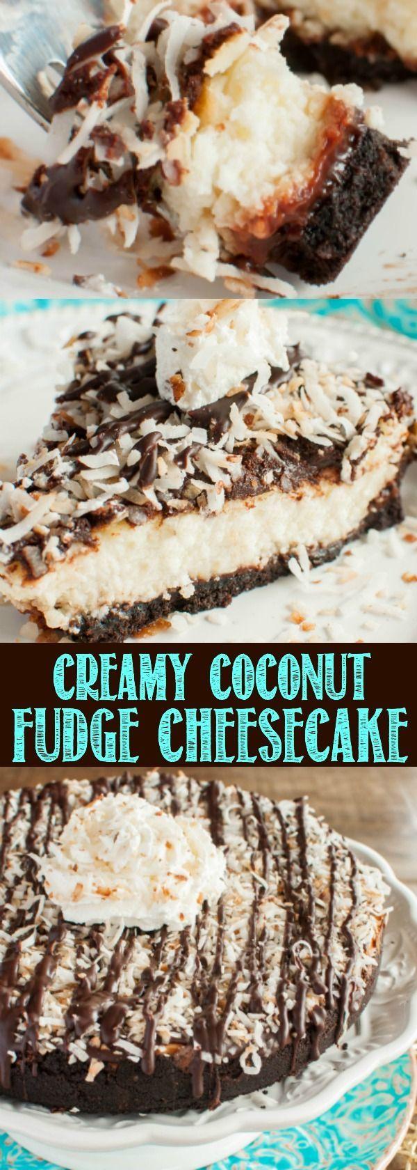 Coconut Fudge Cheesecake - an Oreo fudge crust layered with creamy coconut cheesecake, topped with chocolate ganache and toasted coconut! Heavenly!