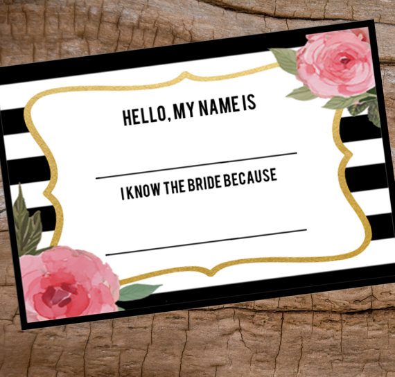bridal shower name tag printable name tag avery name badge