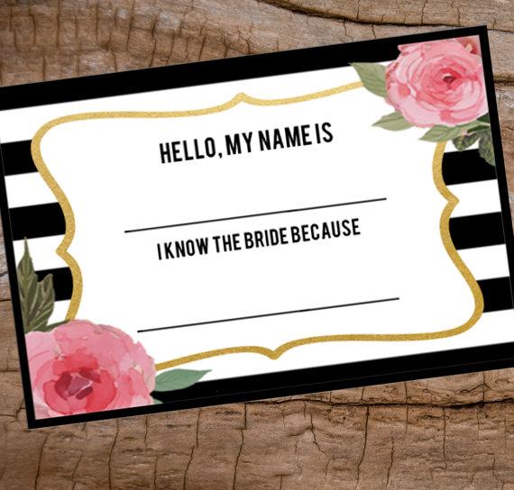 Bridal Shower Name Tag Printable Name Tag Avery Name