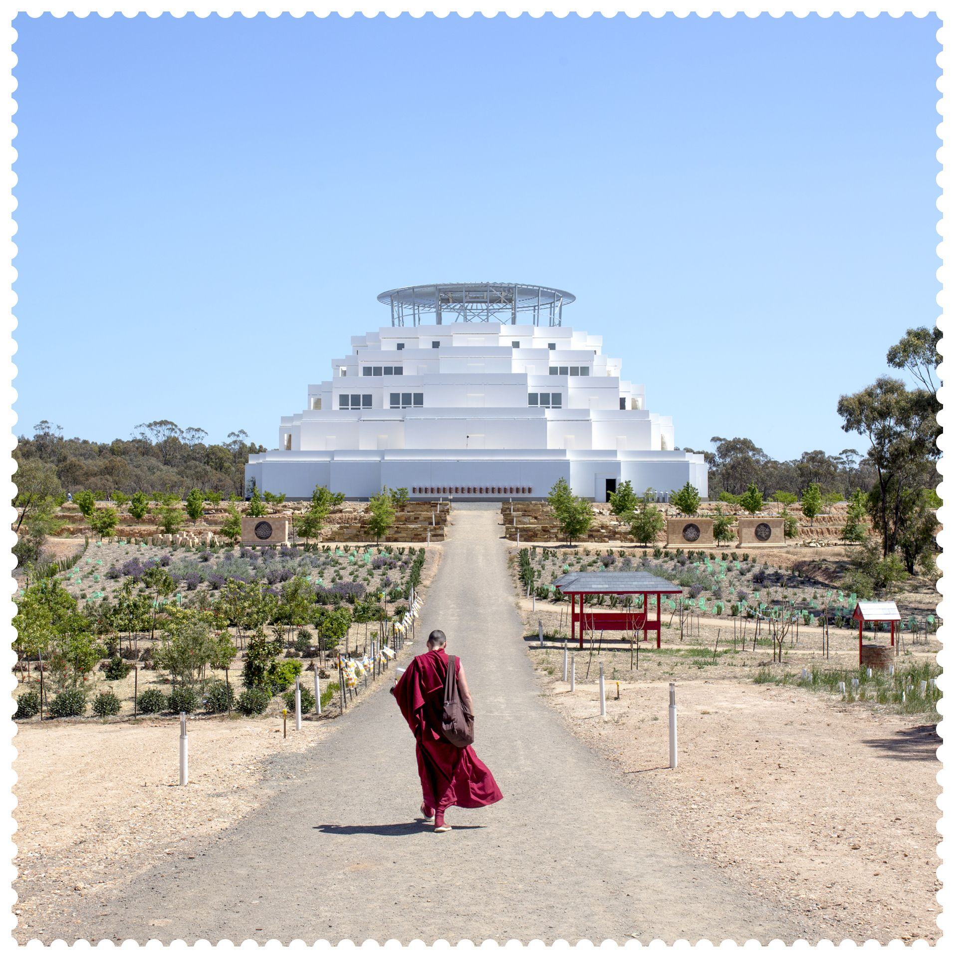 Walking towards the Great Stupa of Universal Compassion bendigo
