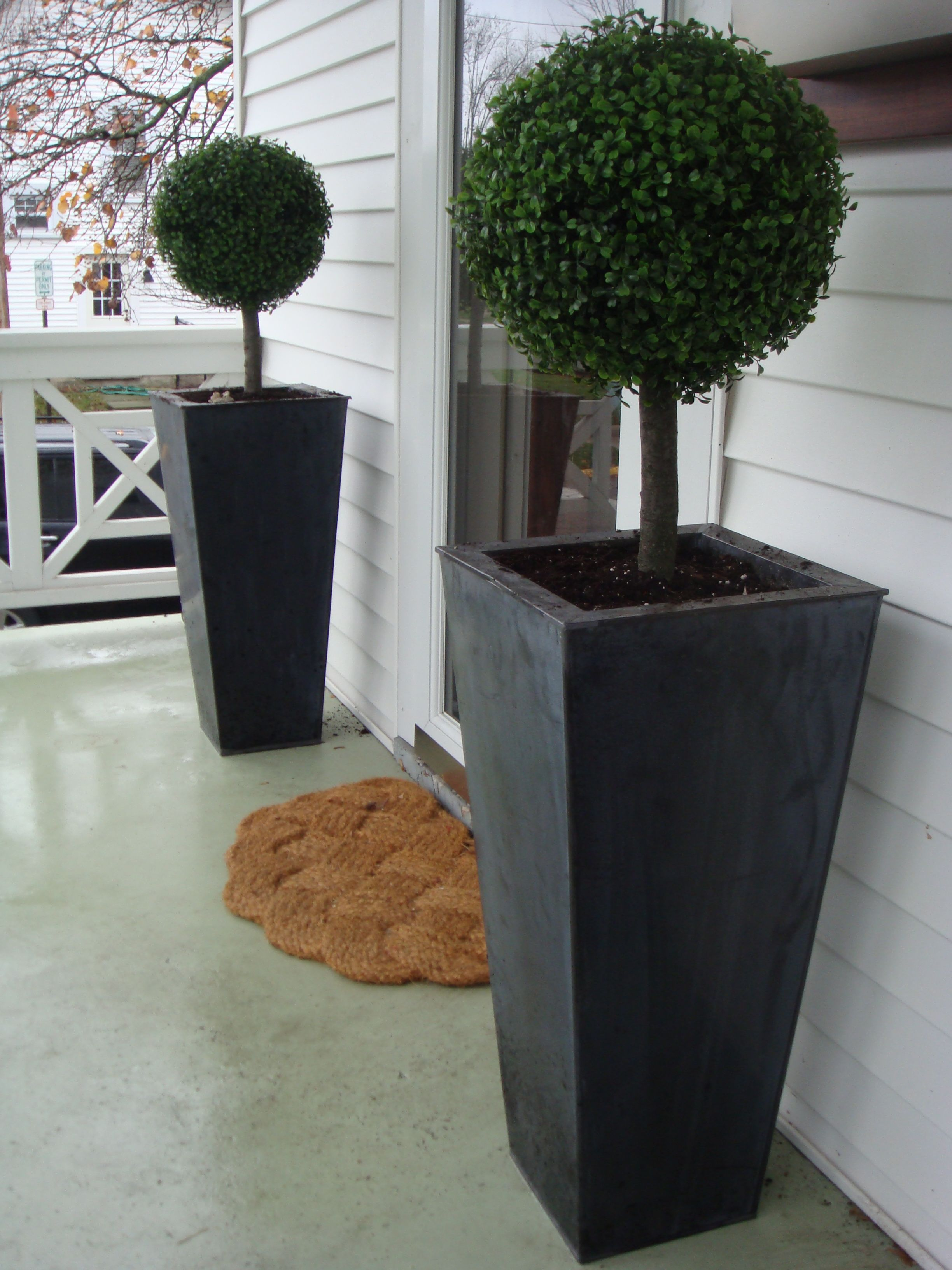 Fake Topiaries Front Porch