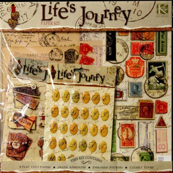 K /& Company Life's Journey Paper Kit Scrapbook Kit Flat 12x12 Papers Sticker New