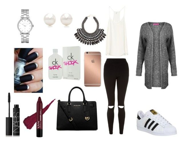 """""""winter :3"""" by coconut-vanilla ❤ liked on Polyvore featuring Boohoo, adidas, MICHAEL Michael Kors, Mura, NARS Cosmetics, Calvin Klein, H&M, Tiffany & Co. and Marc by Marc Jacobs"""