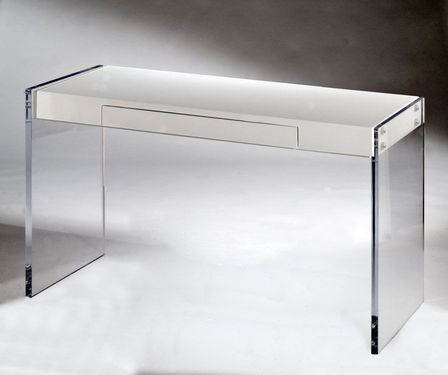 Acrylic Writing Desk. Made With High Gloss White Top. With