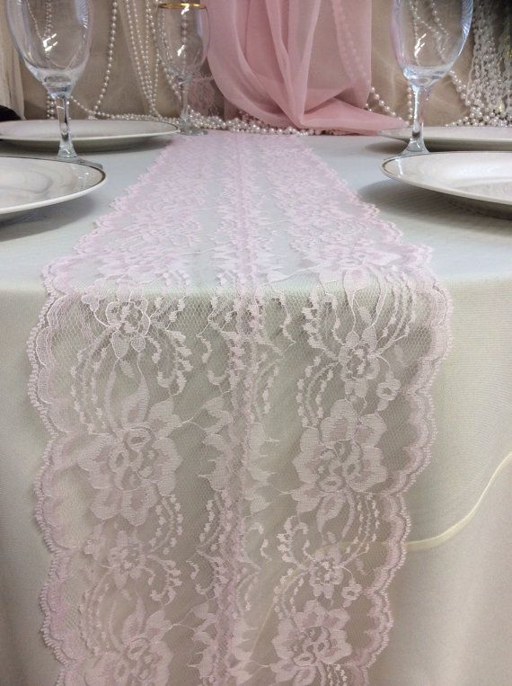 5ft 10ft Blush Pink Lace Table Runner Blush By Lovelylacedesigns Lace Table Runners Wedding Table Pink Table Runners Wedding
