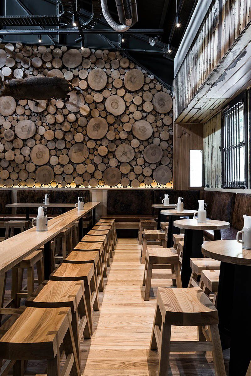 13 Inspirational Ideas For Fun Feature Walls // A Wall Of End Cut Logs.  Restaurant DesignRestaurant BarDesign ...