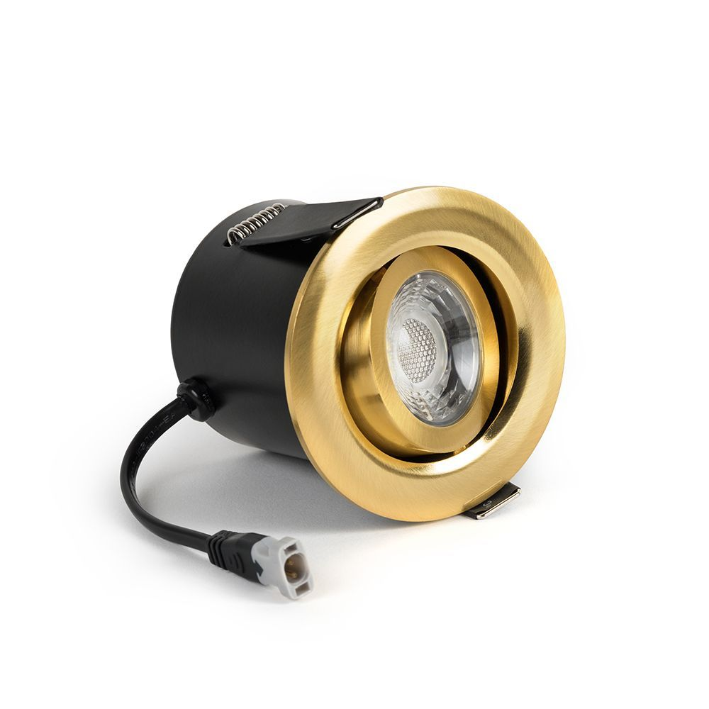 Brushed Brass Adjustable Tiltable 4k Fire Rated Led 6w Ip44 Dimmable Downlight In 2020 Downlights Brushed Brass Brass