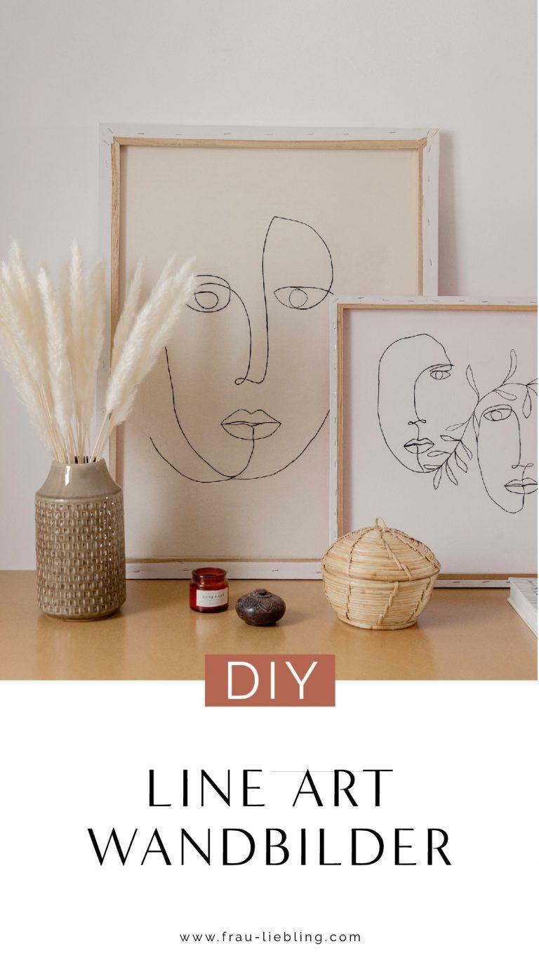 DIY Wall Art: Line Art Bilder gestalten - Leinwand Upcycling