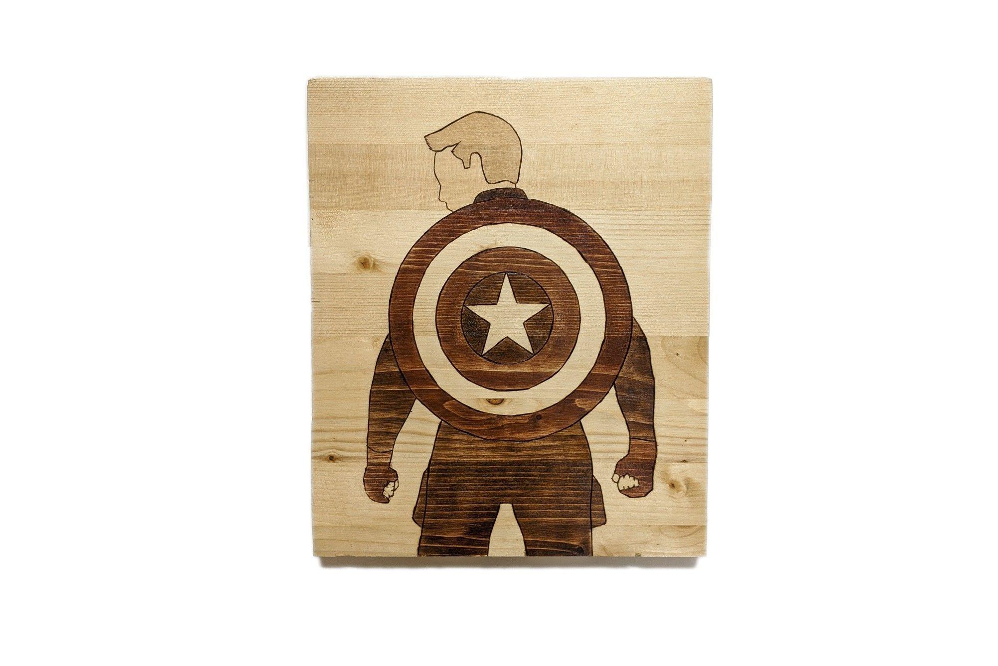 Captain America Wood Art Marvel Superhero