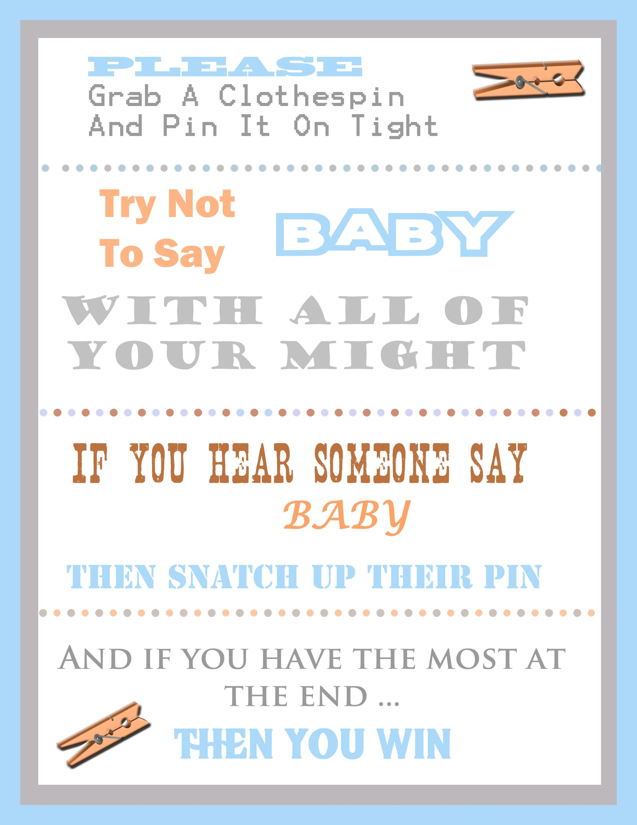 The Clothespin Baby Shower Game