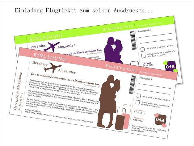 Einladung Hochzeit - Flugticket (PDF) | Einladungen hochzeit ...