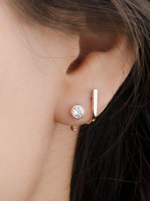 Bar Stud Earrings Hook Stud Earrings Dainty Minimalist
