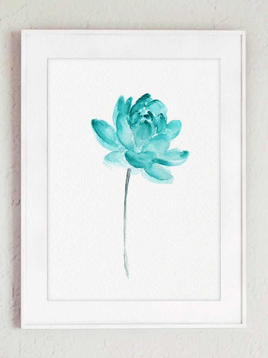 Lotus Fleur Lotus Bleu Sarcelle Peinture Aquarelle Affiche De Fleur Abstraite Art Print Eau