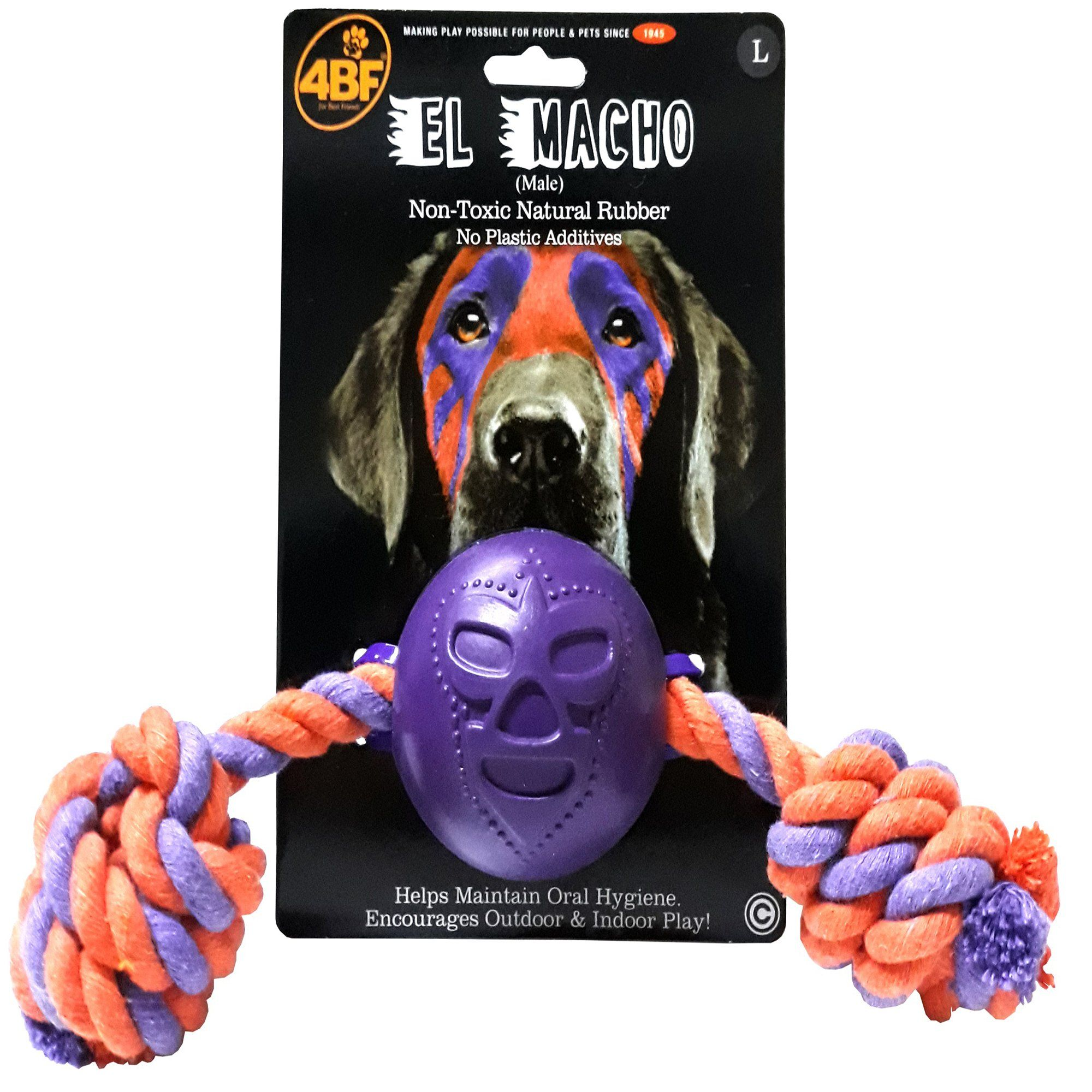 4bf Macho Rubber Ball With Rope Dog Toy Large Dog Toys Dog
