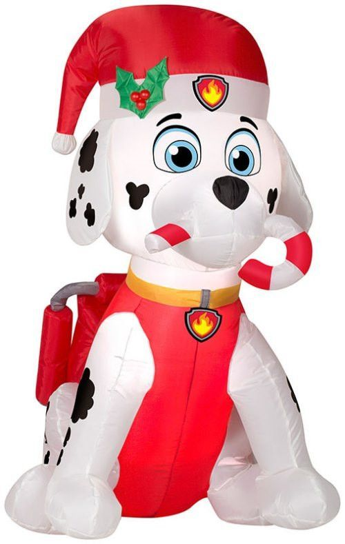 3\u0027 Paw Patrol Marshall Fire Dog Holding Candy Cane Christmas - christmas blow up decorations