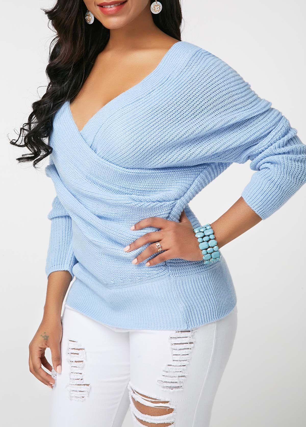 d8a99c06676 Long Sleeve V Neck Light Blue Draped Sweater