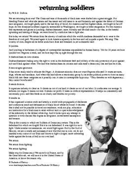 Frankenstein Essay Thesis This Powerful Moving Essay By Web Dubois Calls African American  Soldiers Returning From World War I Into Action Against Racism Here In  America Business Management Essay Topics also Bibliography Help Web Dubois Returning Soldiers From World War I Reading  Custom Critical Book Review