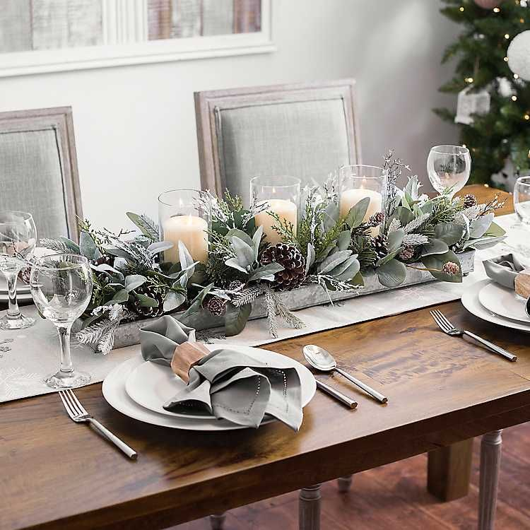 Eucalyptus And Pine Cones Candle Centerpiece Christmas Table Centerpieces Christmas Centerpieces Christmas Table Settings