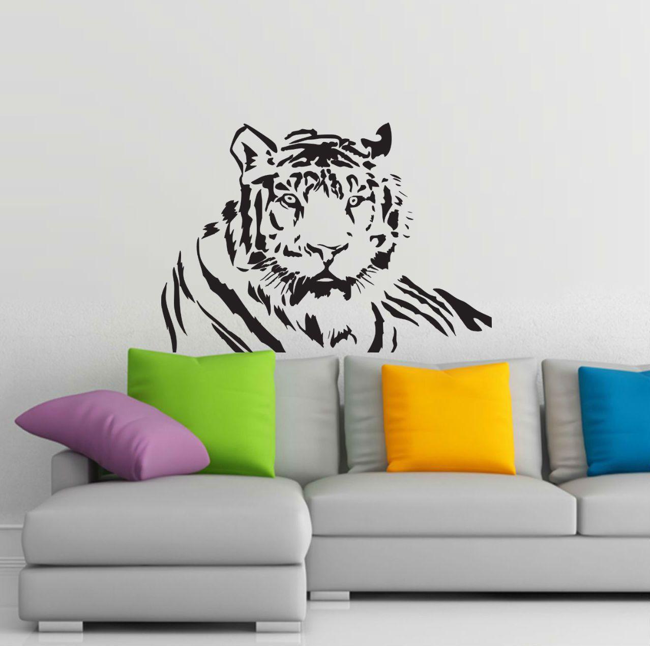 wall-stickers-tigre-tiger-adesivi-murali-da-pareti-parete-stencil ...